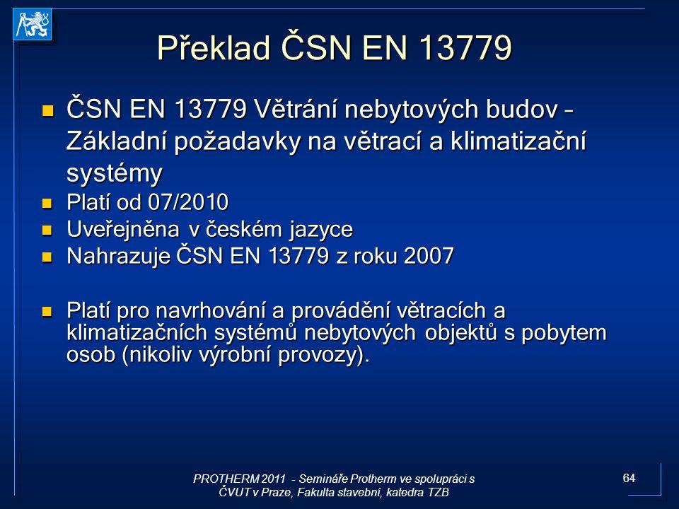 64 Překlad ČSN EN 13779 ČSN EN 13779 Větrání nebytových budov – Základní požadavky na větrací a klimatizační systémy ČSN EN 13779 Větrání nebytových b