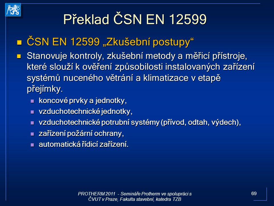 """69 Překlad ČSN EN 12599 ČSN EN 12599 """"Zkušební postupy"""" ČSN EN 12599 """"Zkušební postupy"""" Stanovuje kontroly, zkušební metody a měřicí přístroje, které"""