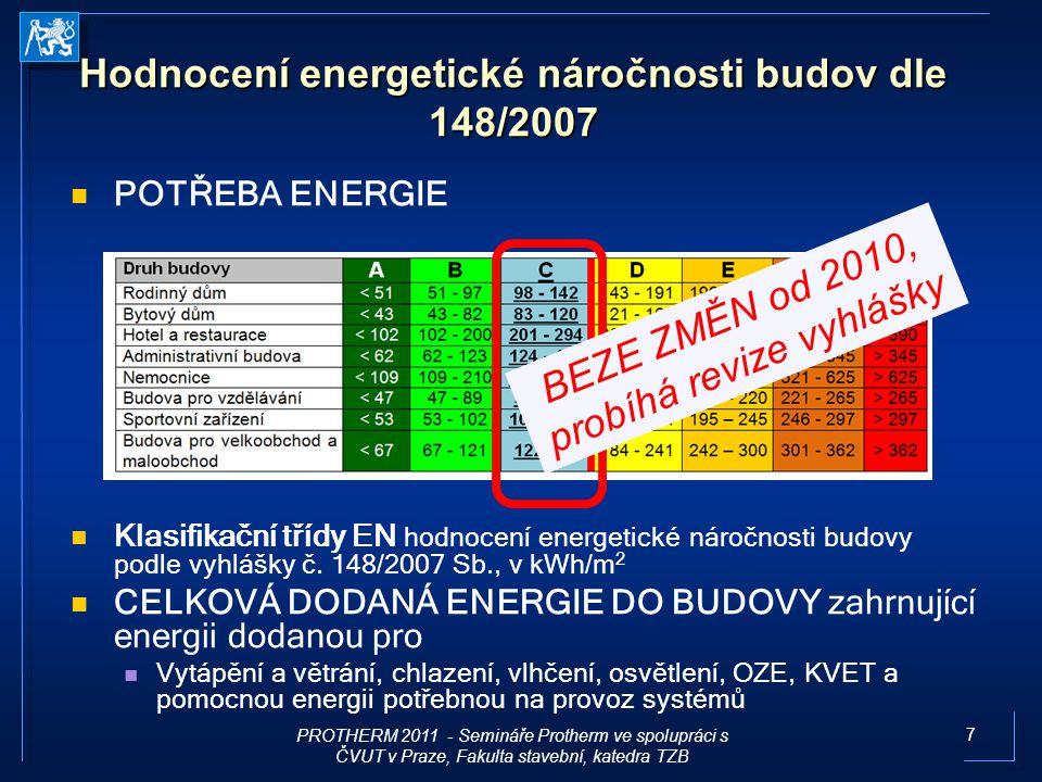 7 Hodnocení energetické náročnosti budov dle 148/2007 POTŘEBA ENERGIE Klasifikační třídy EN hodnocení energetické náročnosti budovy podle vyhlášky č.