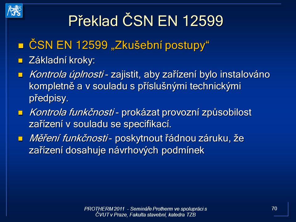 """70 Překlad ČSN EN 12599 ČSN EN 12599 """"Zkušební postupy"""" ČSN EN 12599 """"Zkušební postupy"""" Základní kroky: Základní kroky: Kontrola úplnosti - zajistit,"""