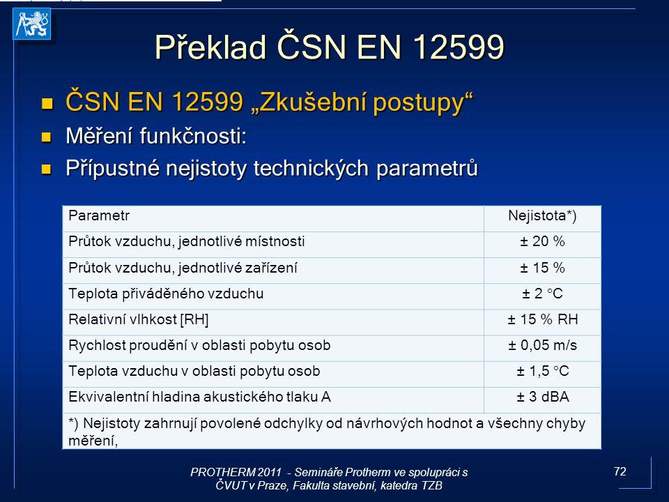 """72 Překlad ČSN EN 12599 ČSN EN 12599 """"Zkušební postupy"""" ČSN EN 12599 """"Zkušební postupy"""" Měření funkčnosti: Měření funkčnosti: Přípustné nejistoty tech"""