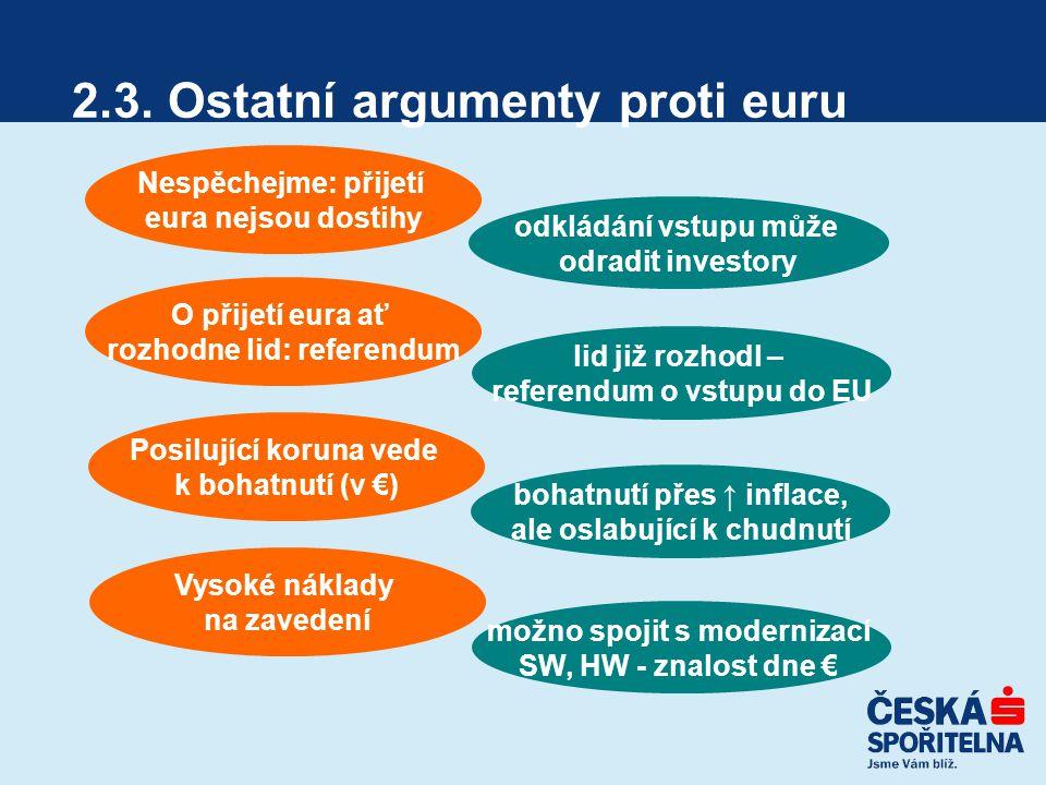 2.3. Ostatní argumenty proti euru Nespěchejme: přijetí eura nejsou dostihy O přijetí eura ať rozhodne lid: referendum Posilující koruna vede k bohatnu