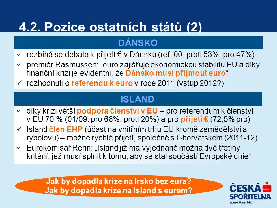 4.2. Pozice ostatních států (2) rozbíhá se debata k přijetí € v Dánsku (ref.
