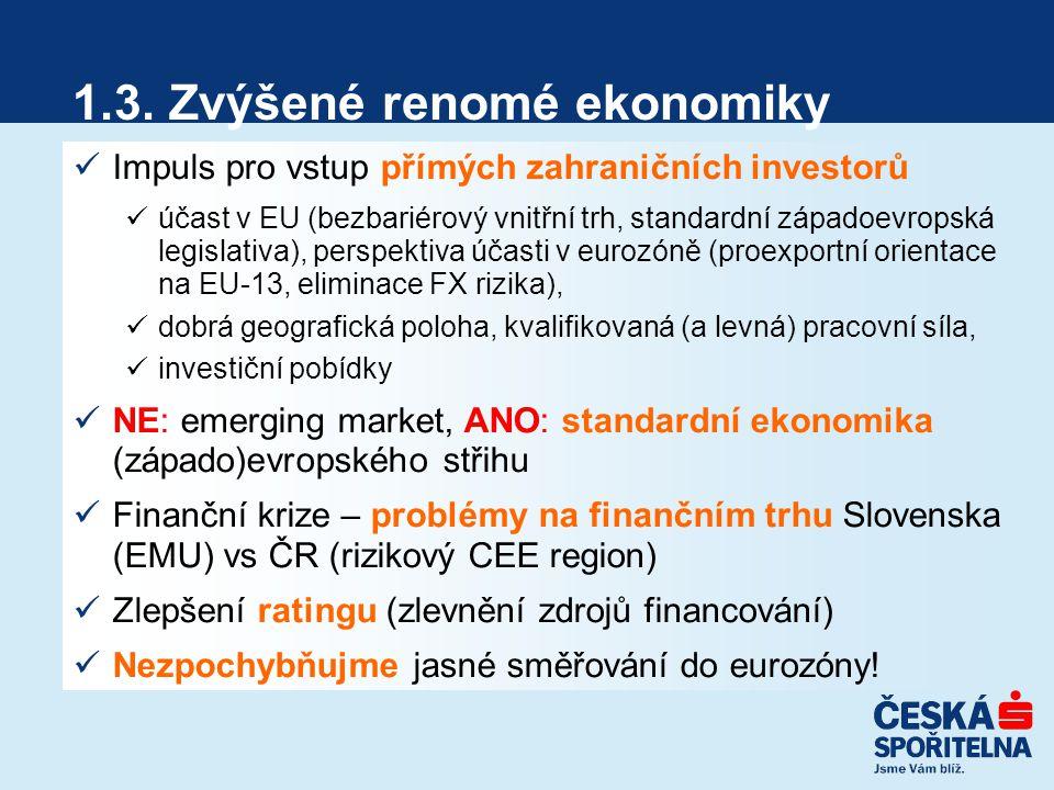 1.3. Zvýšené renomé ekonomiky Impuls pro vstup přímých zahraničních investorů účast v EU (bezbariérový vnitřní trh, standardní západoevropská legislat