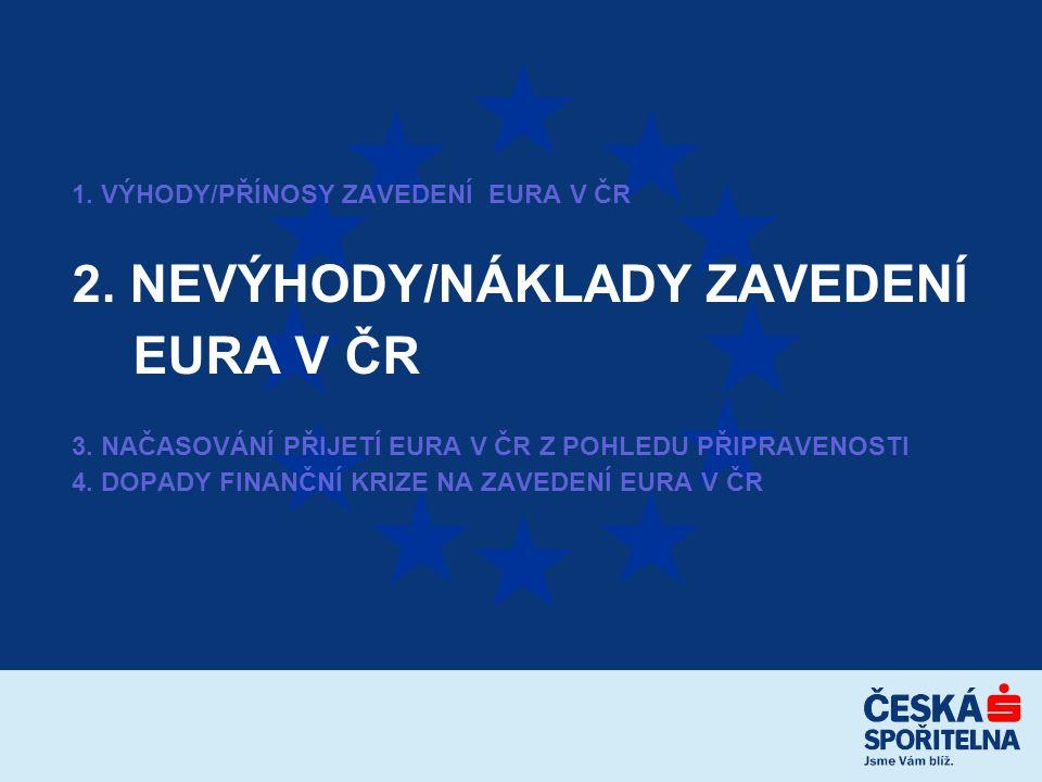 1. VÝHODY/PŘÍNOSY ZAVEDENÍ EURA V ČR 2. NEVÝHODY/NÁKLADY ZAVEDENÍ EURA V ČR 3.