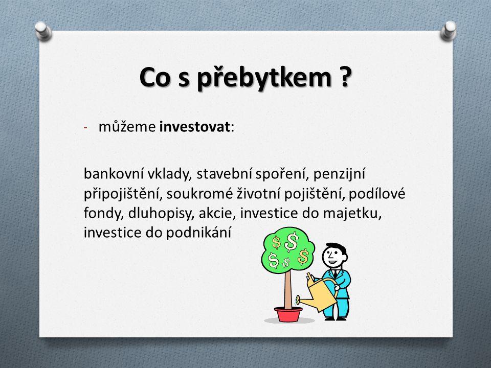 Co s přebytkem ? - můžeme investovat: bankovní vklady, stavební spoření, penzijní připojištění, soukromé životní pojištění, podílové fondy, dluhopisy,