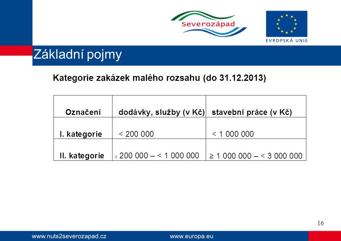 16 Základní pojmy Kategorie zakázek malého rozsahu (do 31.12.2013)