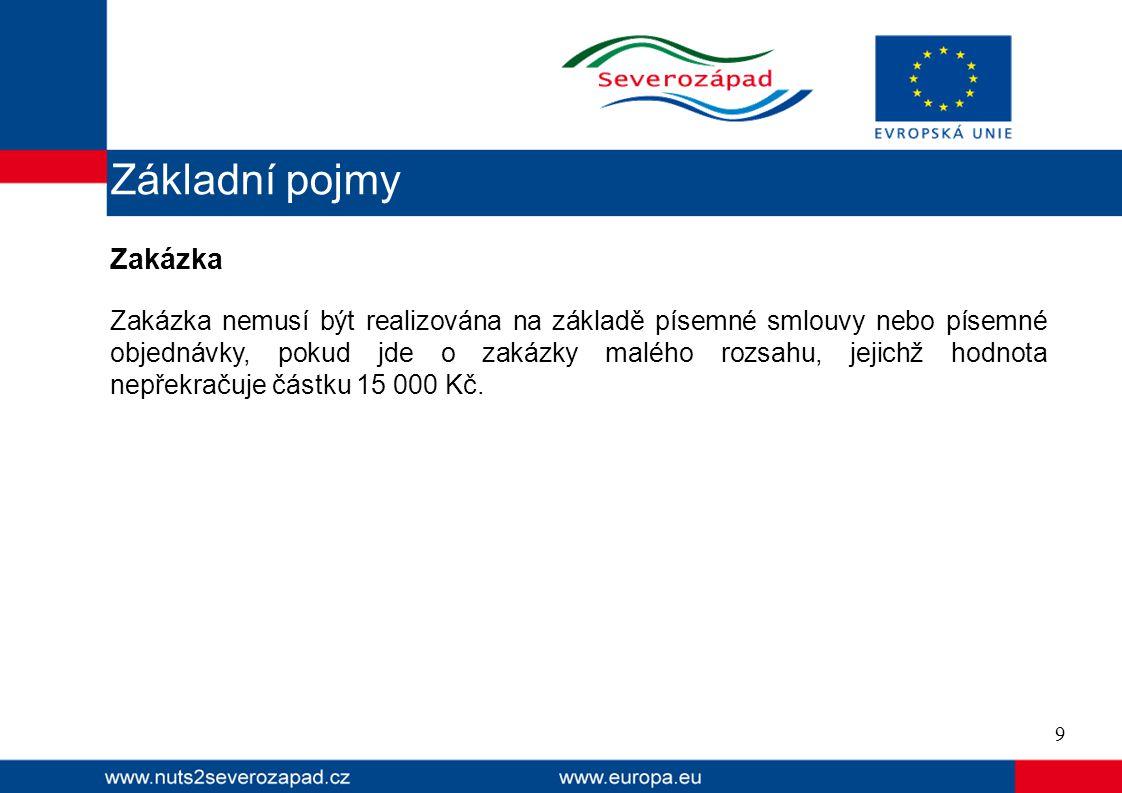 Zakázka Zakázka nemusí být realizována na základě písemné smlouvy nebo písemné objednávky, pokud jde o zakázky malého rozsahu, jejichž hodnota nepřekračuje částku 15 000 Kč.