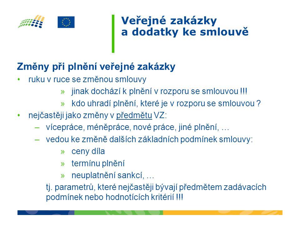 Veřejné zakázky a dodatky ke smlouvě Změny při plnění veřejné zakázky ruku v ruce se změnou smlouvy »jinak dochází k plnění v rozporu se smlouvou !!!