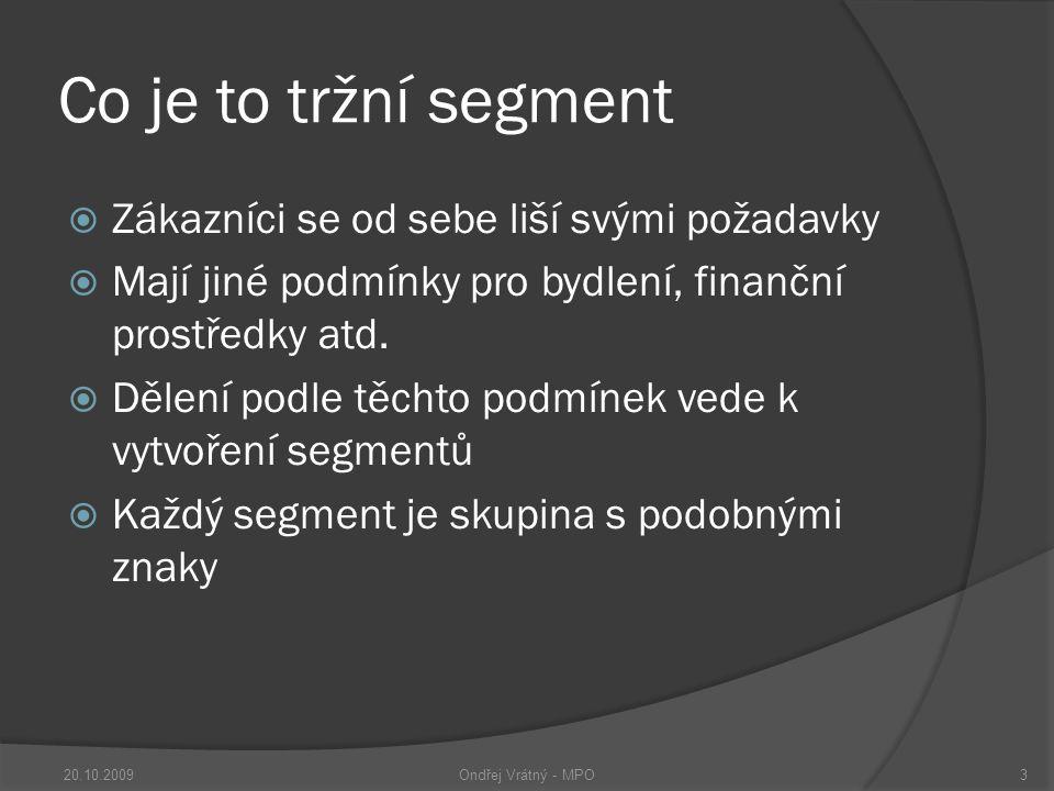 Co je to tržní segment  Zákazníci se od sebe liší svými požadavky  Mají jiné podmínky pro bydlení, finanční prostředky atd.