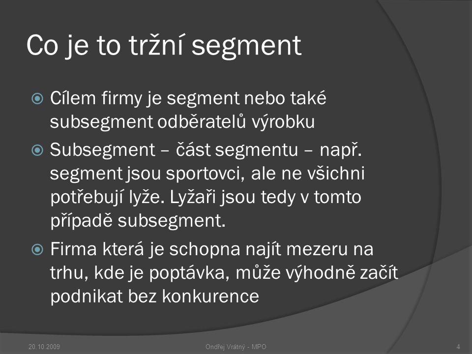Co je to tržní segment  Cílem firmy je segment nebo také subsegment odběratelů výrobku  Subsegment – část segmentu – např.