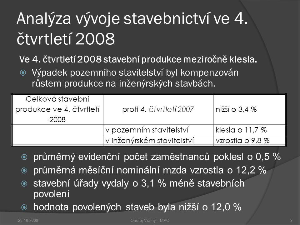 Stavebnictví v 1.pololetí 2009  Stavební povolení  Počet  7,7 %  Orientační hodnota  4,9 % 1.