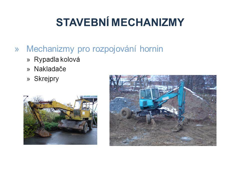 STAVEBNÍ MECHANIZMY »Mechanizmy pro rozpojování hornin »Rypadla kolová »Nakladače »Skrejpry