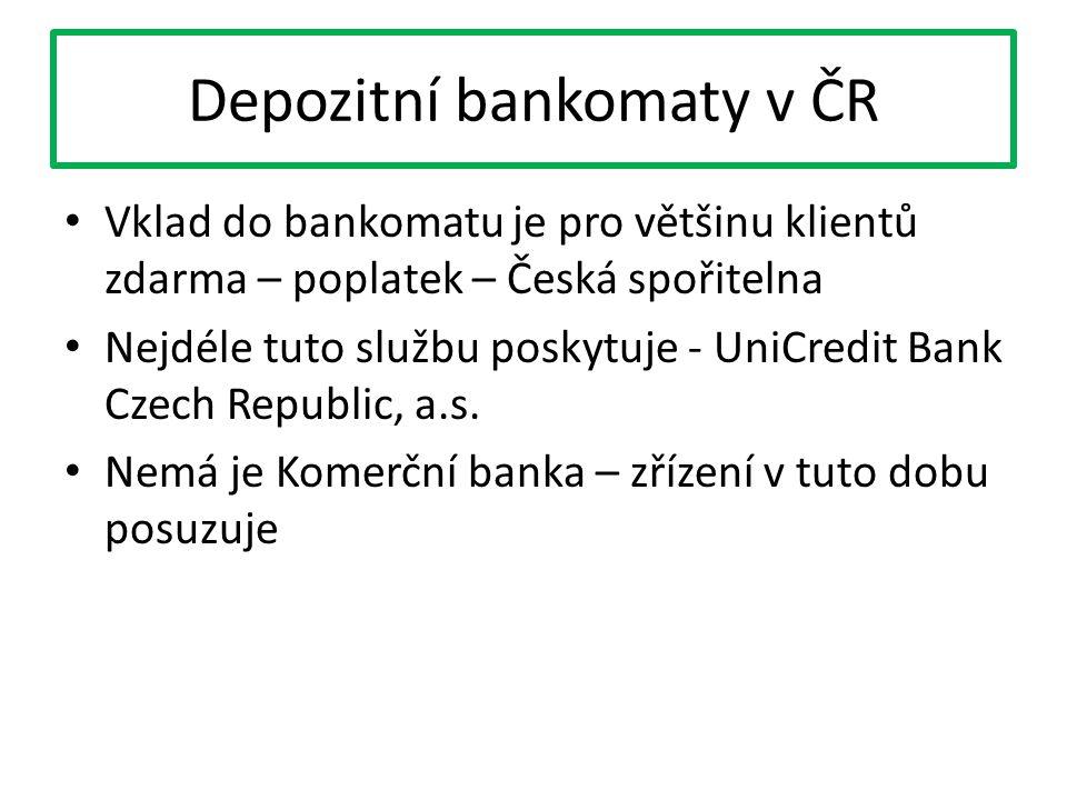 Depozitní bankomaty v ČR Vklad do bankomatu je pro většinu klientů zdarma – poplatek – Česká spořitelna Nejdéle tuto službu poskytuje - UniCredit Bank Czech Republic, a.s.