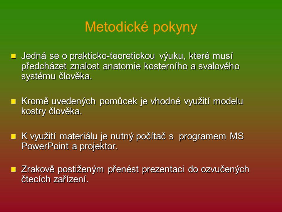 Metodické pokyny Jedná se o prakticko-teoretickou výuku, které musí předcházet znalost anatomie kosterního a svalového systému člověka. Jedná se o pra