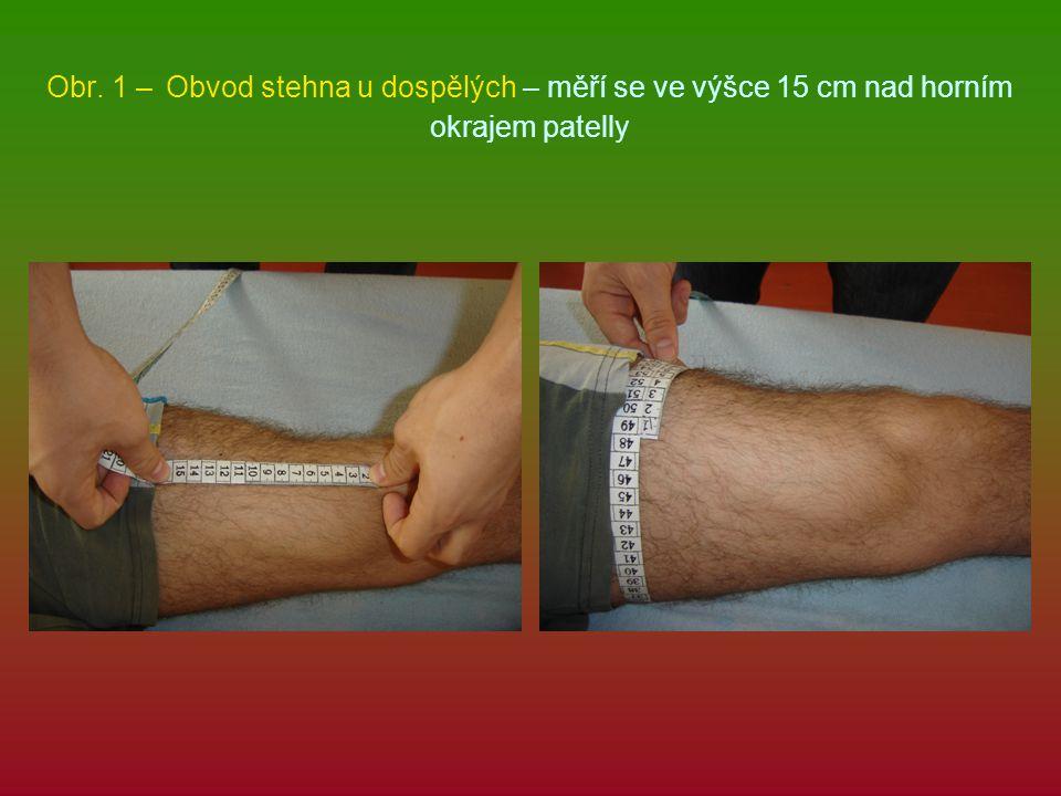 Opakování kde se měří obvod stehna u dětí 10 cm nad horním okrajem patelly kde se měří obvod stehna u dospělých 15 cm nad horním okrajem patelly