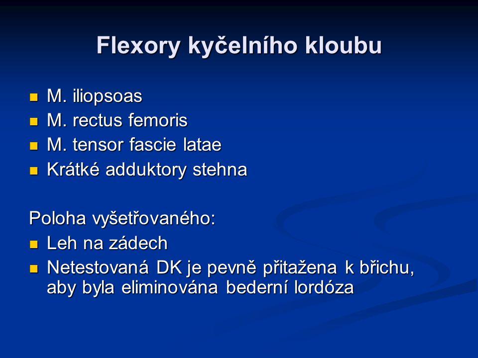 Flexory kyčelního kloubu M. iliopsoas M. iliopsoas M. rectus femoris M. rectus femoris M. tensor fascie latae M. tensor fascie latae Krátké adduktory