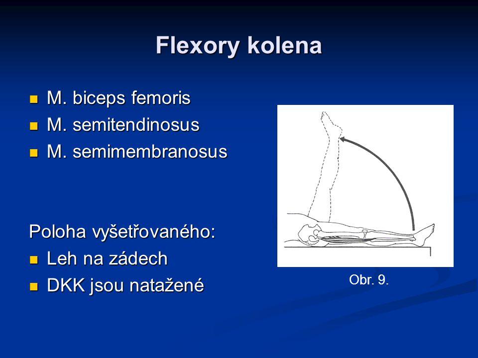 Flexory kolena M. biceps femoris M. biceps femoris M. semitendinosus M. semitendinosus M. semimembranosus M. semimembranosus Poloha vyšetřovaného: Leh