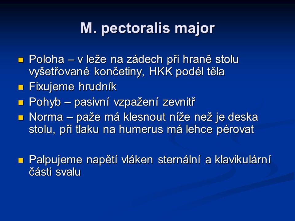 M. pectoralis major Poloha – v leže na zádech při hraně stolu vyšetřované končetiny, HKK podél těla Poloha – v leže na zádech při hraně stolu vyšetřov