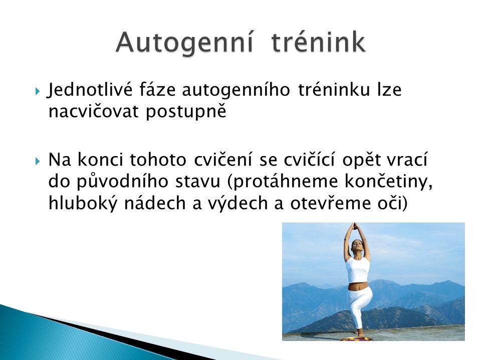  Jednotlivé fáze autogenního tréninku lze nacvičovat postupně  Na konci tohoto cvičení se cvičící opět vrací do původního stavu (protáhneme končetin