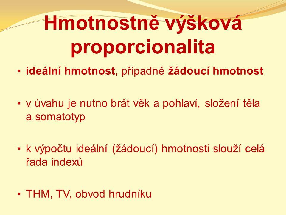 Hmotnostně výšková proporcionalita ideální hmotnost, případně žádoucí hmotnost v úvahu je nutno brát věk a pohlaví, složení těla a somatotyp k výpočtu ideální (žádoucí) hmotnosti slouží celá řada indexů THM, TV, obvod hrudníku