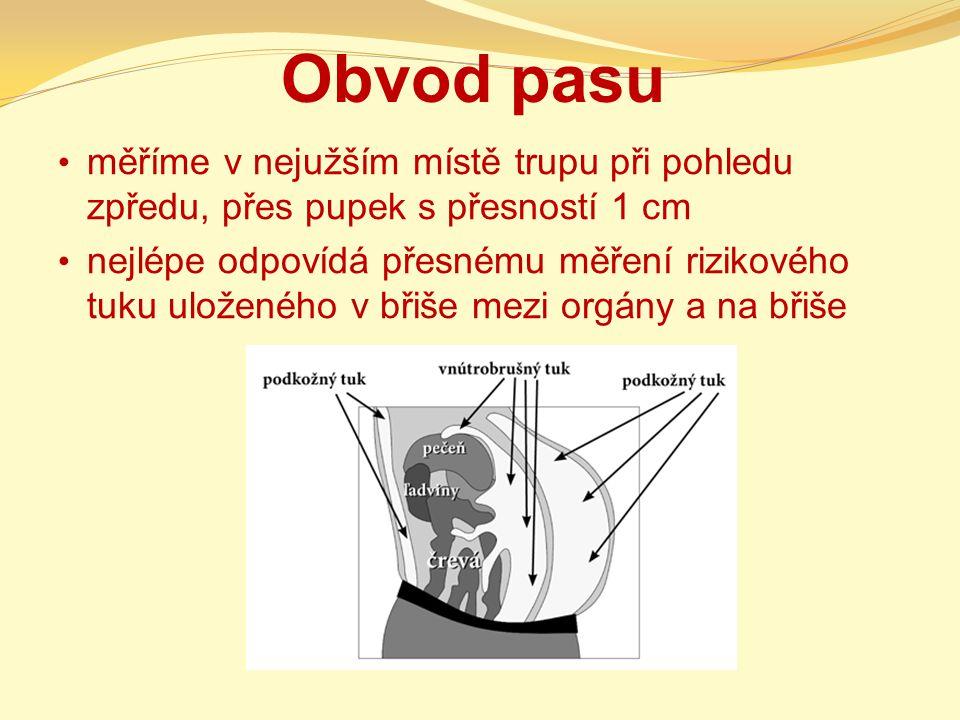 Obvod pasu měříme v nejužším místě trupu při pohledu zpředu, přes pupek s přesností 1 cm nejlépe odpovídá přesnému měření rizikového tuku uloženého v břiše mezi orgány a na břiše