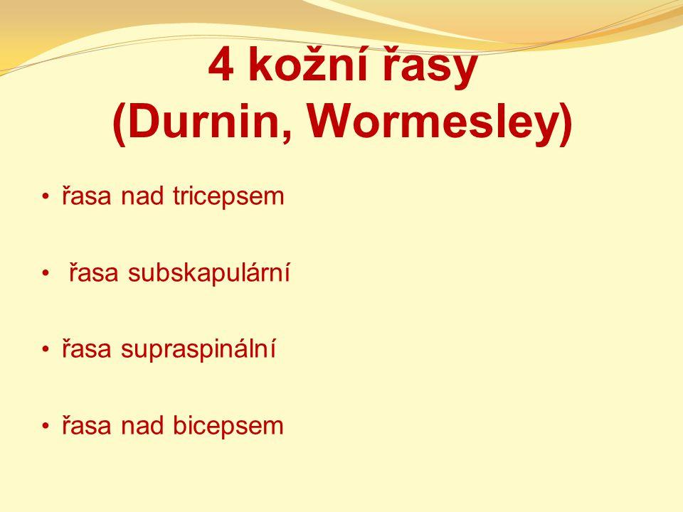 4 kožní řasy (Durnin, Wormesley) řasa nad tricepsem řasa subskapulární řasa supraspinální řasa nad bicepsem