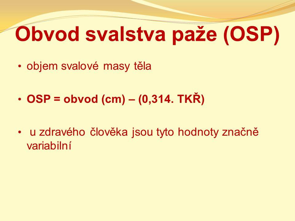 Obvod svalstva paže (OSP) objem svalové masy těla OSP = obvod (cm) – (0,314.