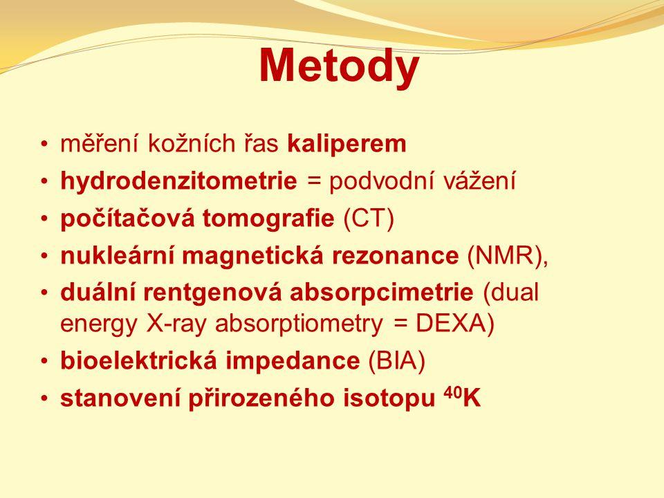 Metody měření kožních řas kaliperem hydrodenzitometrie = podvodní vážení počítačová tomografie (CT) nukleární magnetická rezonance (NMR), duální rentgenová absorpcimetrie (dual energy X-ray absorptiometry = DEXA) bioelektrická impedance (BIA) stanovení přirozeného isotopu 40 K