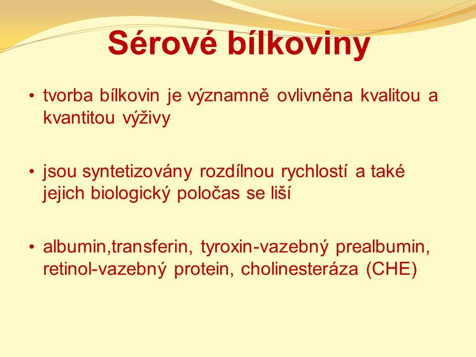 Sérové bílkoviny tvorba bílkovin je významně ovlivněna kvalitou a kvantitou výživy jsou syntetizovány rozdílnou rychlostí a také jejich biologický poločas se liší albumin,transferin, tyroxin-vazebný prealbumin, retinol-vazebný protein, cholinesteráza (CHE)