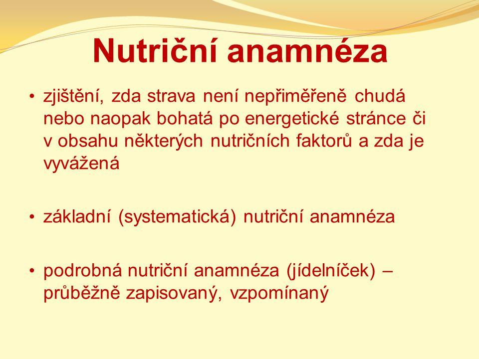 Nutriční anamnéza zjištění, zda strava není nepřiměřeně chudá nebo naopak bohatá po energetické stránce či v obsahu některých nutričních faktorů a zda je vyvážená základní (systematická) nutriční anamnéza podrobná nutriční anamnéza (jídelníček) – průběžně zapisovaný, vzpomínaný