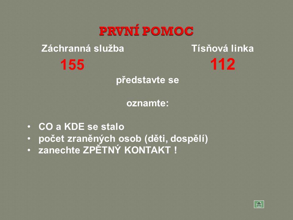 Záchranná služba Tísňová linka 155 112 představte se oznamte: CO a KDE se stalo počet zraněných osob (děti, dospělí) zanechte ZPĚTNÝ KONTAKT !