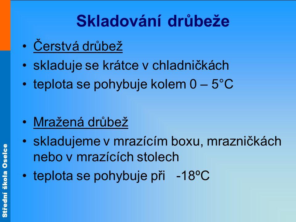 Střední škola Oselce Skladování drůbeže Čerstvá drůbež skladuje se krátce v chladničkách teplota se pohybuje kolem 0 – 5°C Mražená drůbež skladujeme v