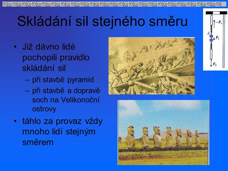 Skládání sil stejného směru Již dávno lidé pochopili pravidlo skládání sil –při stavbě pyramid –při stavbě a dopravě soch na Velikonoční ostrovy táhlo