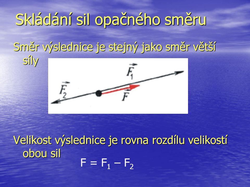 Skládání sil opačného směru Směr výslednice je stejný jako směr větší síly Velikost výslednice je rovna rozdílu velikostí obou sil F = F 1 – F 2