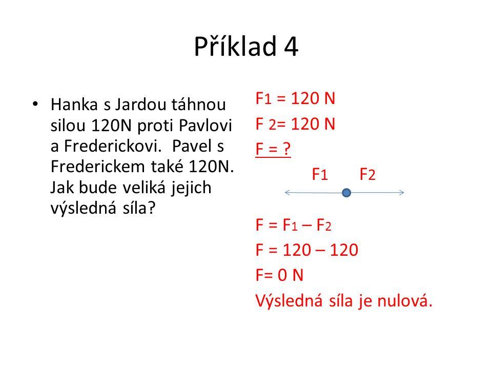 Příklad 4 Hanka s Jardou táhnou silou 120N proti Pavlovi a Frederickovi. Pavel s Frederickem také 120N. Jak bude veliká jejich výsledná síla? F 1 = 12