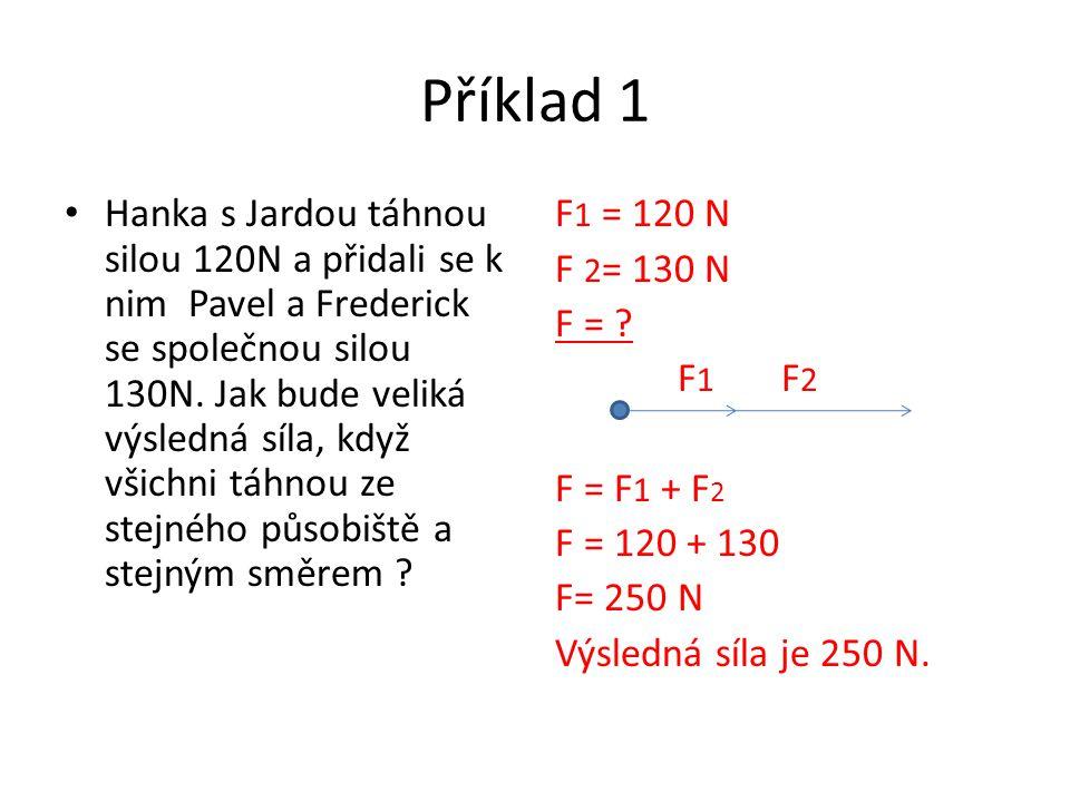 Skládání rovnoběžných sil opačného směru Příkladem je přetahování lanem, kdy výsledná síla je rovna překonání síly soupeře a odtáhnutí ho za čáru Velikost výslednice je rovna rozdílu velikostí obou skládaných sil se směrem větší síly F 1 F 2 F F = F 2 - F 1