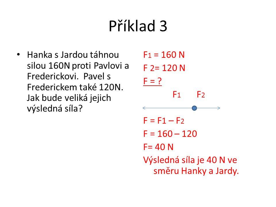 Příklad 3 Hanka s Jardou táhnou silou 160N proti Pavlovi a Frederickovi. Pavel s Frederickem také 120N. Jak bude veliká jejich výsledná síla? F 1 = 16