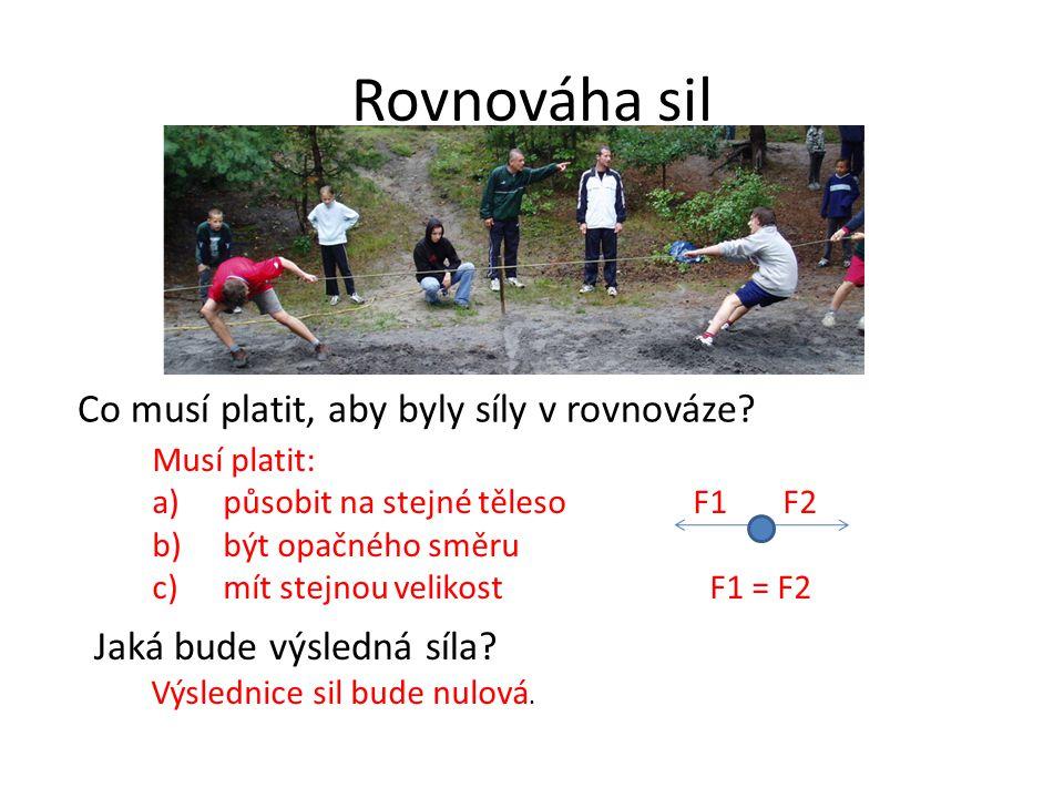 Rovnováha sil Musí platit: a)působit na stejné těleso F1 F2 b)být opačného směru c)mít stejnou velikost F1 = F2 Co musí platit, aby byly síly v rovnov