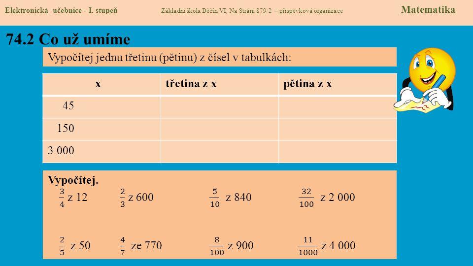 74.3 Sčítání zlomků Elektronická učebnice - I.