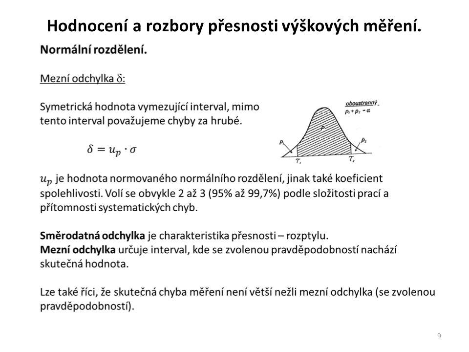 9 Hodnocení a rozbory přesnosti výškových měření.
