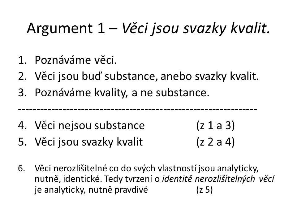 Argument 1 – Věci jsou svazky kvalit. 1.Poznáváme věci. 2.Věci jsou buď substance, anebo svazky kvalit. 3.Poznáváme kvality, a ne substance. ---------