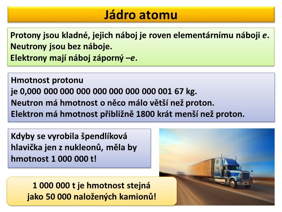 Jádro atomu Protony jsou kladné, jejich náboj je roven elementárnímu náboji e. Neutrony jsou bez náboje. Elektrony mají náboj záporný –e. Protony jsou