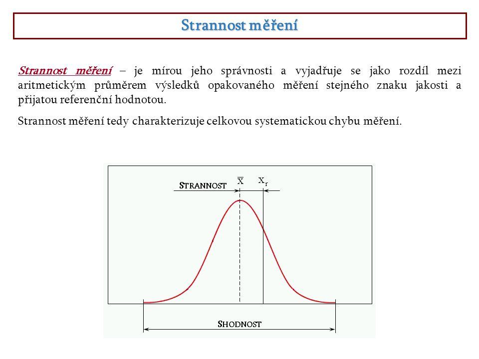 Strannost měření Strannost měření – je mírou jeho správnosti a vyjadřuje se jako rozdíl mezi aritmetickým průměrem výsledků opakovaného měření stejnéh