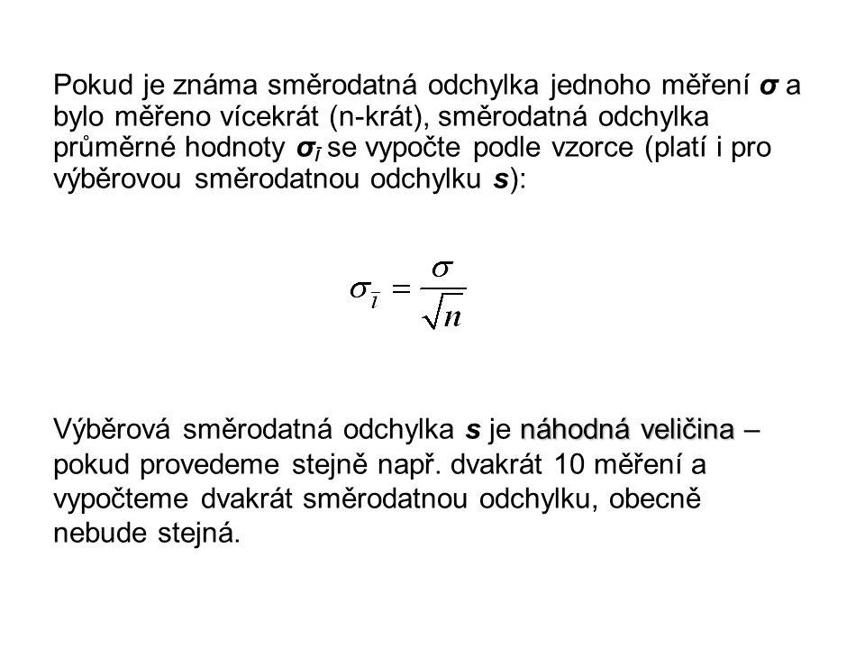 Pokud je známa směrodatná odchylka jednoho měření σ a bylo měřeno vícekrát (n-krát), směrodatná odchylka průměrné hodnoty σ Ī se vypočte podle vzorce