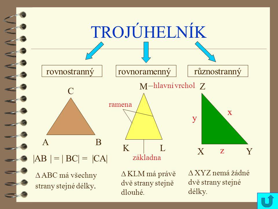 TROJÚHELNÍK různostranný rovnostrannýrovnoramenný AB C KL M XY Z |AB | = | BC| = |CA| Δ ABC má všechny strany stejné délky.