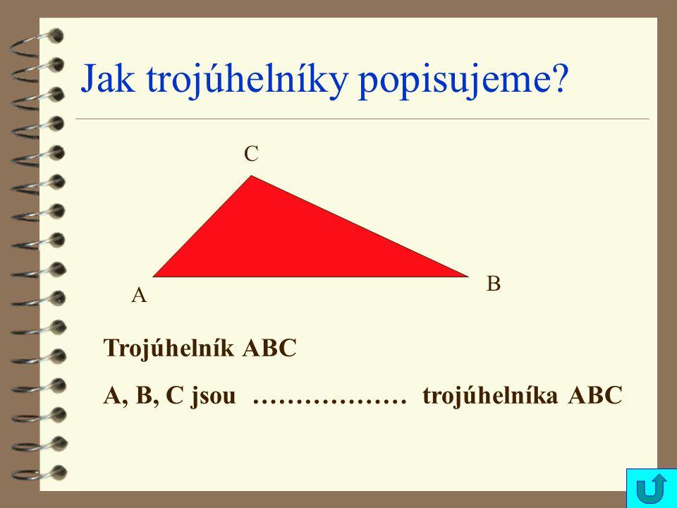 Jak trojúhelníky popisujeme? A B C Trojúhelník ABC A, B, C jsou ……………… trojúhelníka ABC