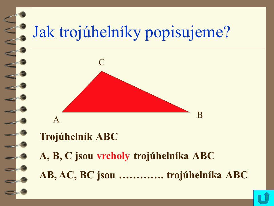 Jak trojúhelníky popisujeme? A B C Trojúhelník ABC A, B, C jsou vrcholy trojúhelníka ABC AB, AC, BC jsou …………. trojúhelníka ABC