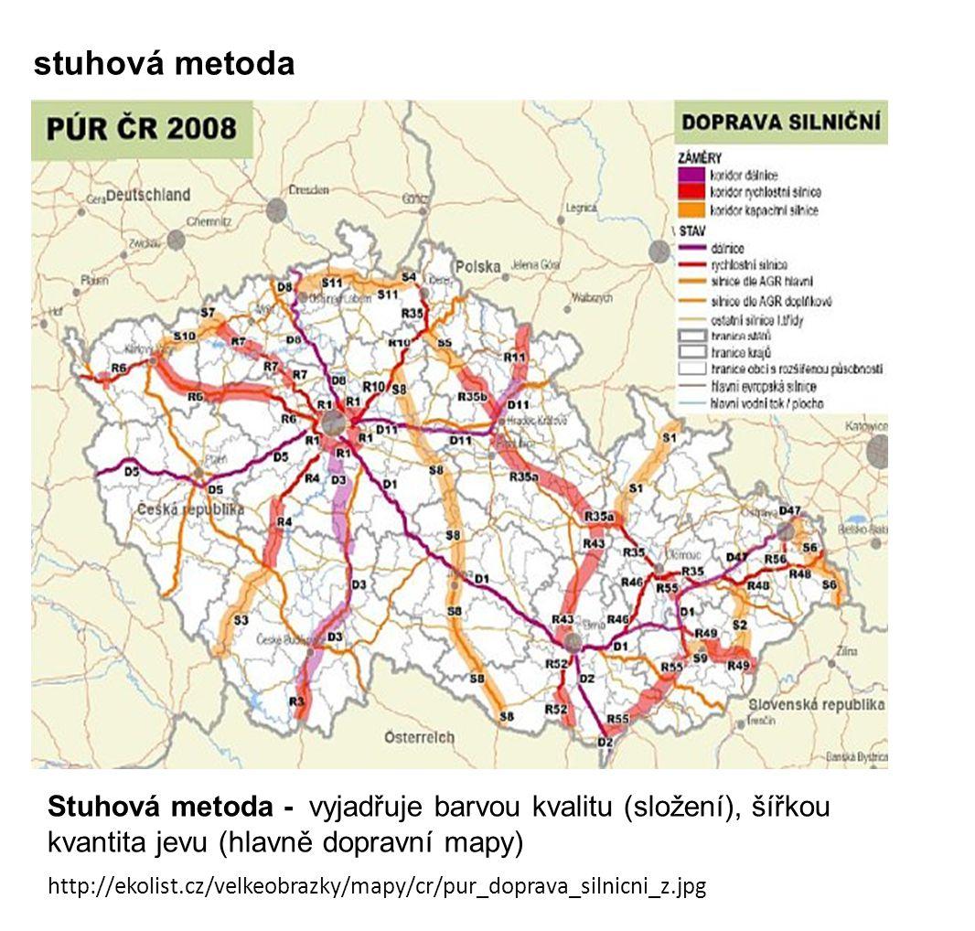 stuhová metoda Stuhová metoda - vyjadřuje barvou kvalitu (složení), šířkou kvantita jevu (hlavně dopravní mapy) http://ekolist.cz/velkeobrazky/mapy/cr/pur_doprava_silnicni_z.jpg