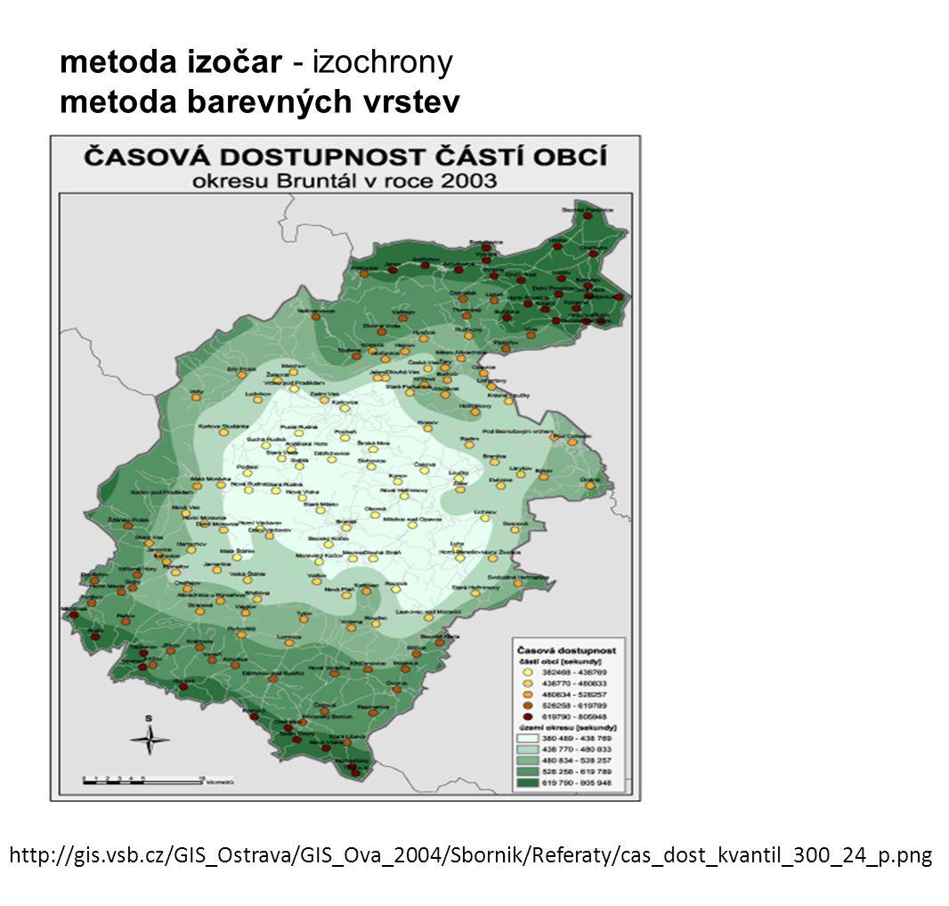 http://gis.vsb.cz/GIS_Ostrava/GIS_Ova_2004/Sbornik/Referaty/cas_dost_kvantil_300_24_p.png metoda izočar - izochrony metoda barevných vrstev